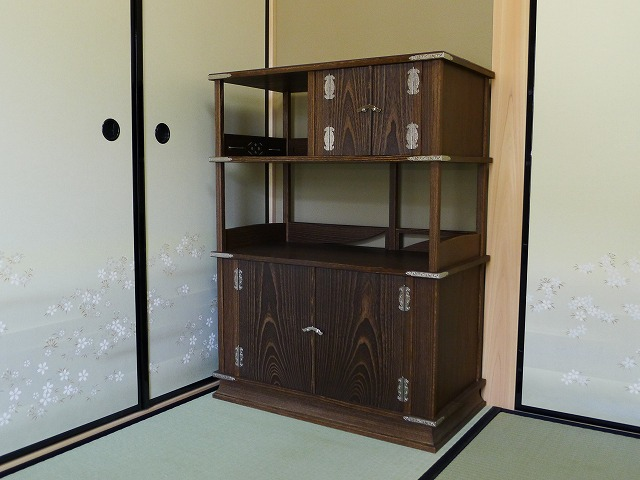東大阪市のS様 大阪泉州桐箪笥 初音オリジナル別注焼桐和棚