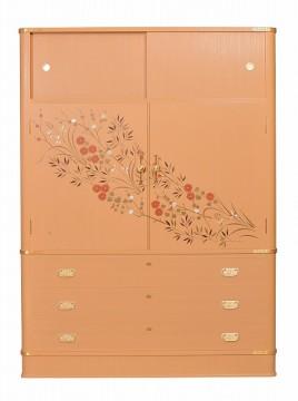 大阪泉州桐箪笥 初音の家具 胴丸型四君子蒔絵入り桐たんす