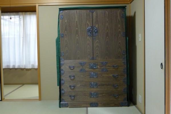 総桐焼桐時代衣装箪笥 油単付写真