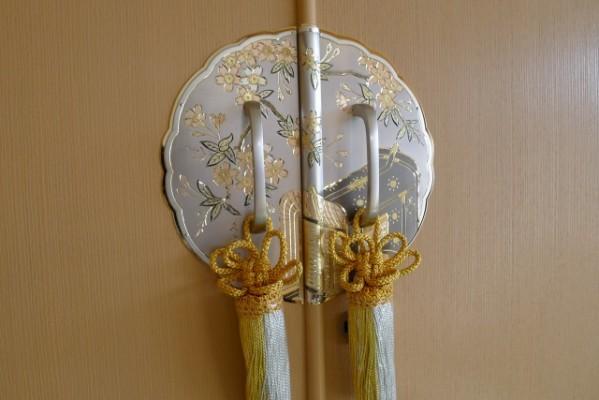 前飾り最高級の桜に御所車の久光刻の手彫り金具