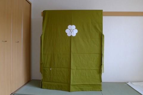 最高峰の大阪泉州桐箪笥の胴丸大衣装箪笥に掛けられた初音オリジナル色の油単