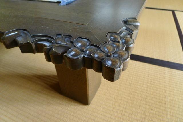 最高級の神戸家具の座敷机の彫刻