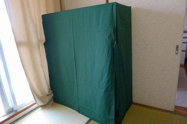 大阪泉州桐箪笥焼桐盆六衣装箪笥(三輪)にグリーンの油単