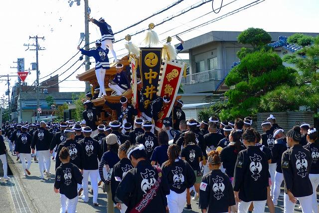 2013 10月 岸和田だんじり祭り 試験引き 中井町町名入りのぼり旗