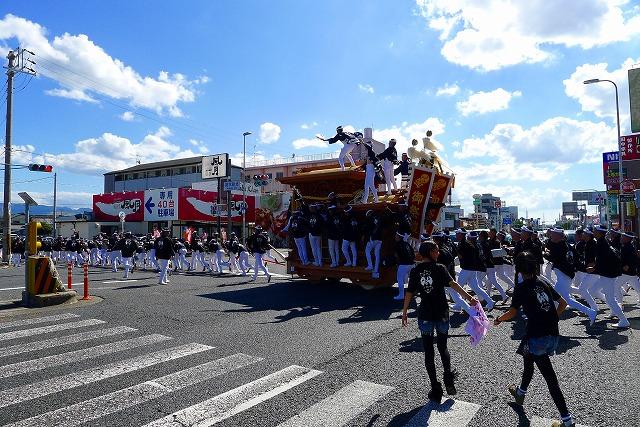 2013 10月 岸和田だんじり祭り 試験引き荒木北交差点だんじり横断