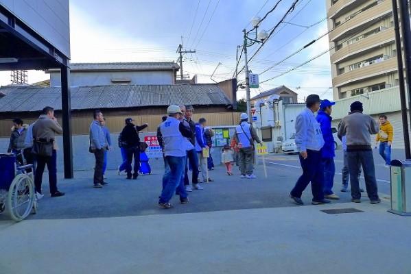 岸和田市の避難訓練の模様