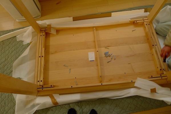 カリモクDU5115P000ダイニングテーブルとCU4155P448の組み立て