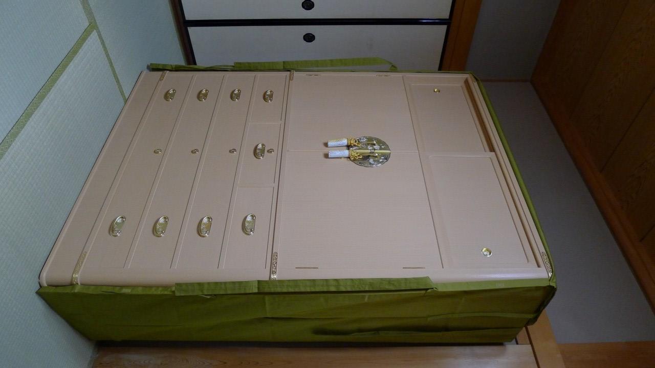 大阪泉州桐箪笥の胴丸和紙金具衣装箪笥と油単 3