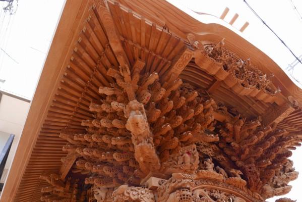 春木旭町だんじりの左面大屋根彫り物