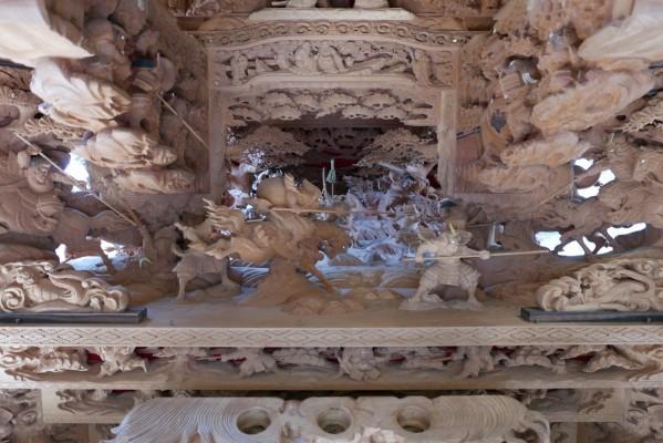 春木旭町だんじりの後ろ側見送りの彫り物