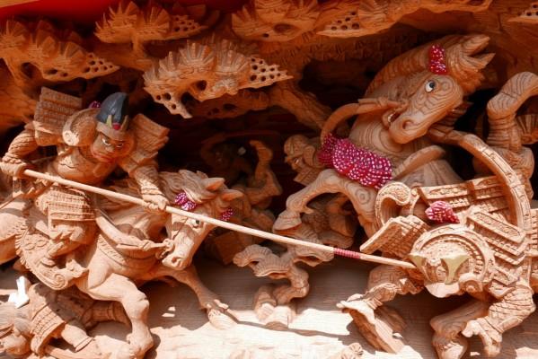 春木旭町だんじりの土呂幕の彫り物