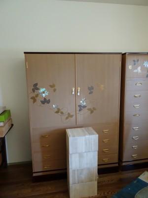 大阪泉州桐箪笥 鉄線蒔絵入り2本揃え和箪笥