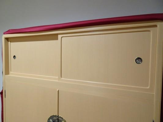 大阪泉州桐箪笥 胴厚一寸天地丸衣装箪笥のエンジの油単3