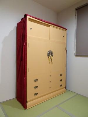 大阪泉州桐箪笥 胴厚一寸天地丸衣装箪笥のエンジの油単4
