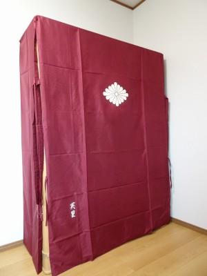 大阪泉州桐箪笥の最高級 総桐胴丸総無垢衣装箪笥の正絹の油単2