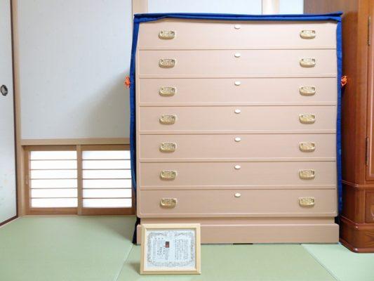大阪泉州桐箪笥の総桐小袖たんすと油単と保証書