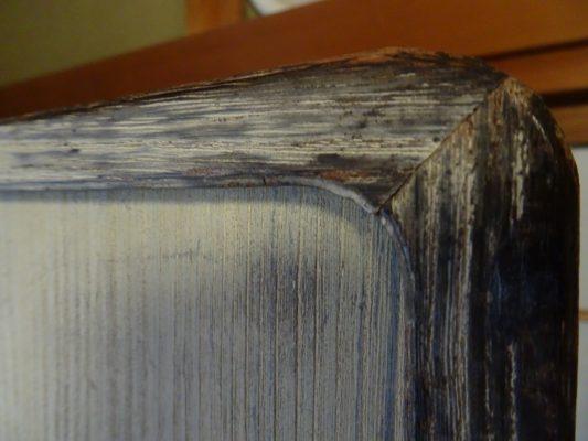 桐たんすの洗い替え前の三つ重ね桐衣装箪笥の天丸写真