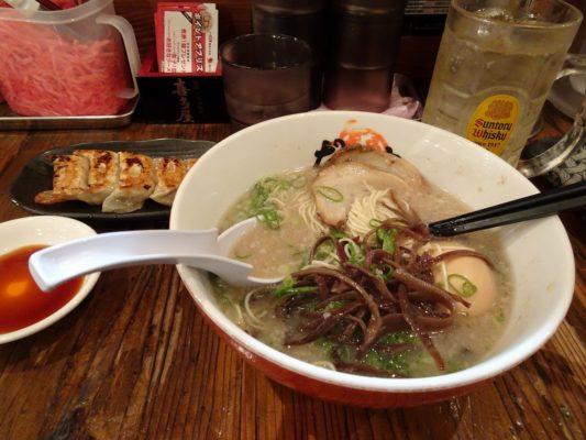 博多だるまラーメン 煮卵入り 細麺と一口ギョーザときくらげ