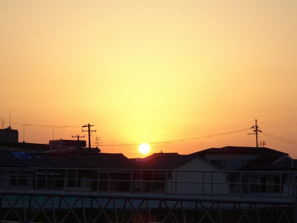 泉大津川から見た夕焼け空